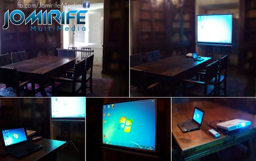 Sistema de projecção (computador, projector e tela) para sala de reunião/apresentação [en] Projection system (computer, projector and screen) in a room for a meeting/presentation