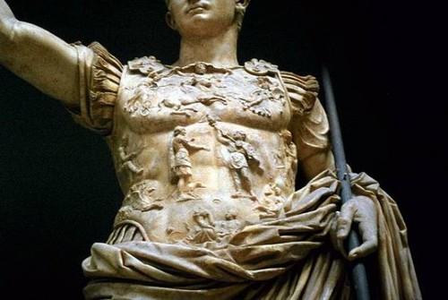 Augusto de Prima Porta com Eros a seus pés - Deta