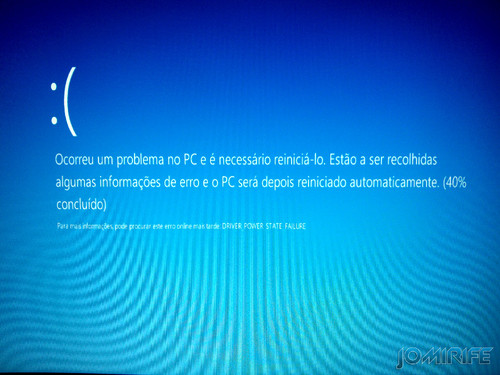 Erro Blue Screen do Windows 8 DRIVER_POWER_STATE_FAILURE