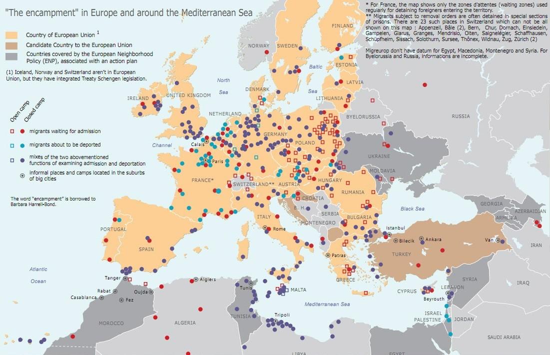 Mapa campos refugiados e de detenção