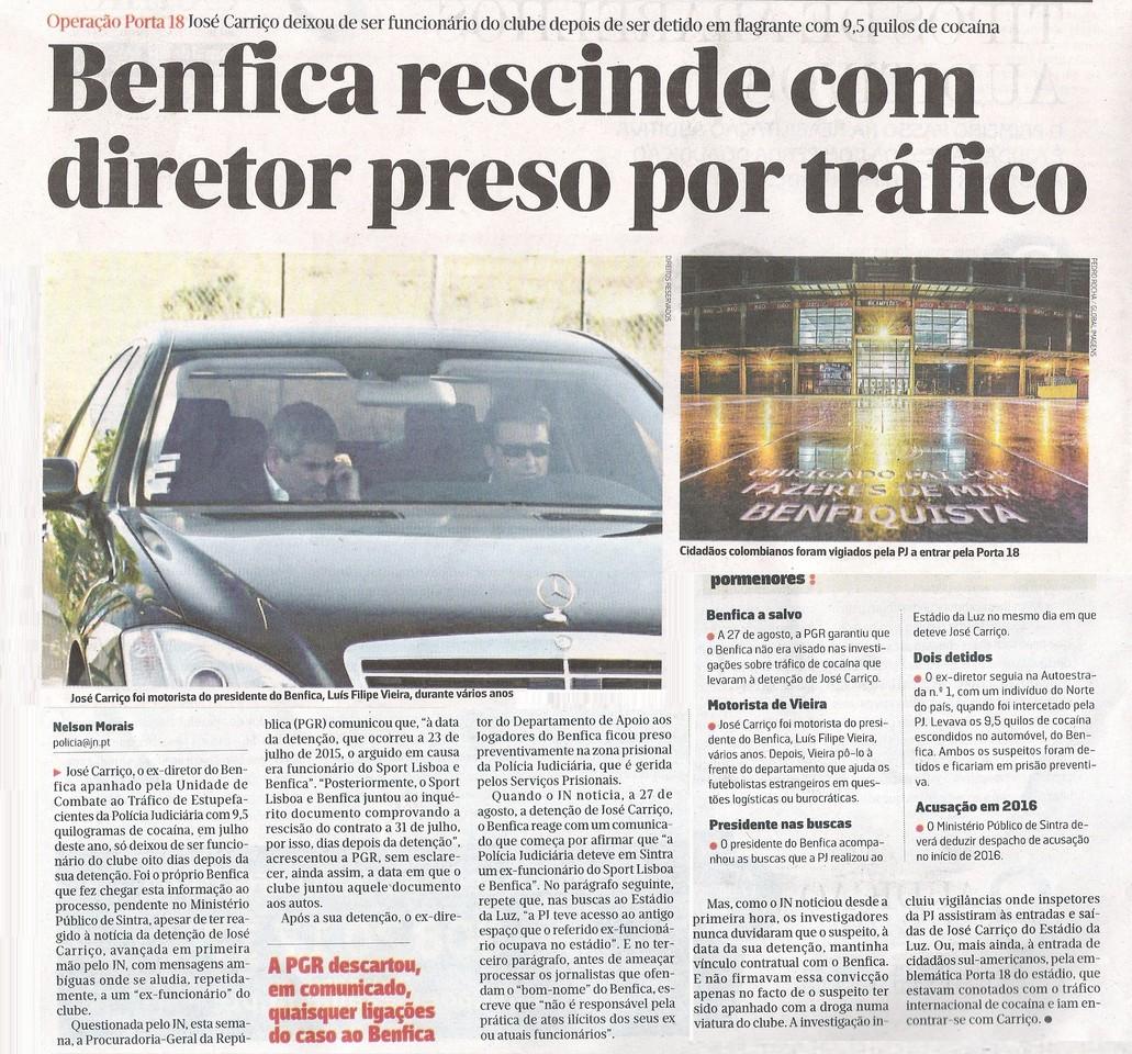 Benfica rescinde com diretor preso por tráfico de