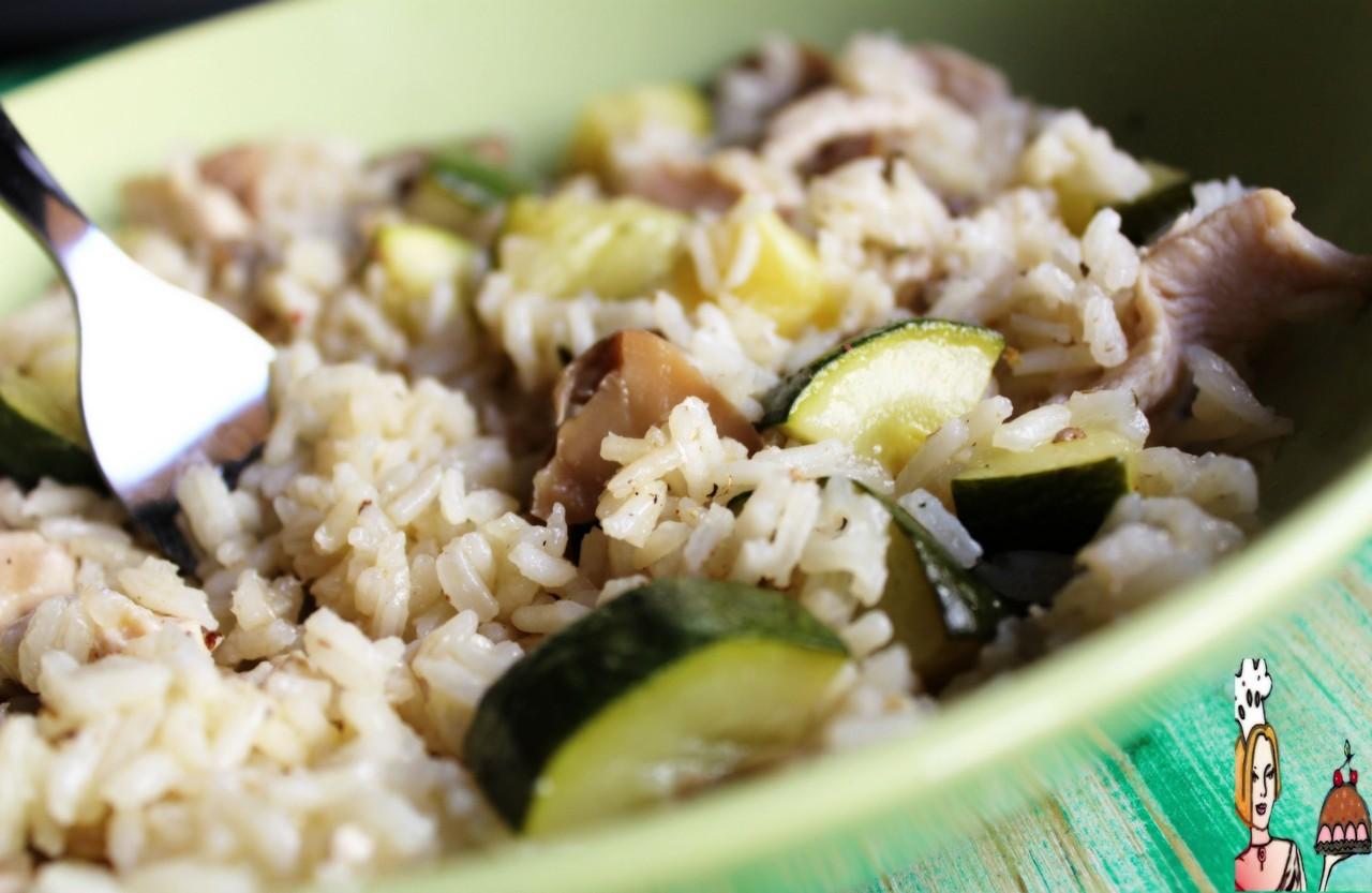 Receita de arroz com frango cogumelos e courgete