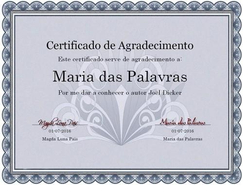 Certificado Maria das Palavras