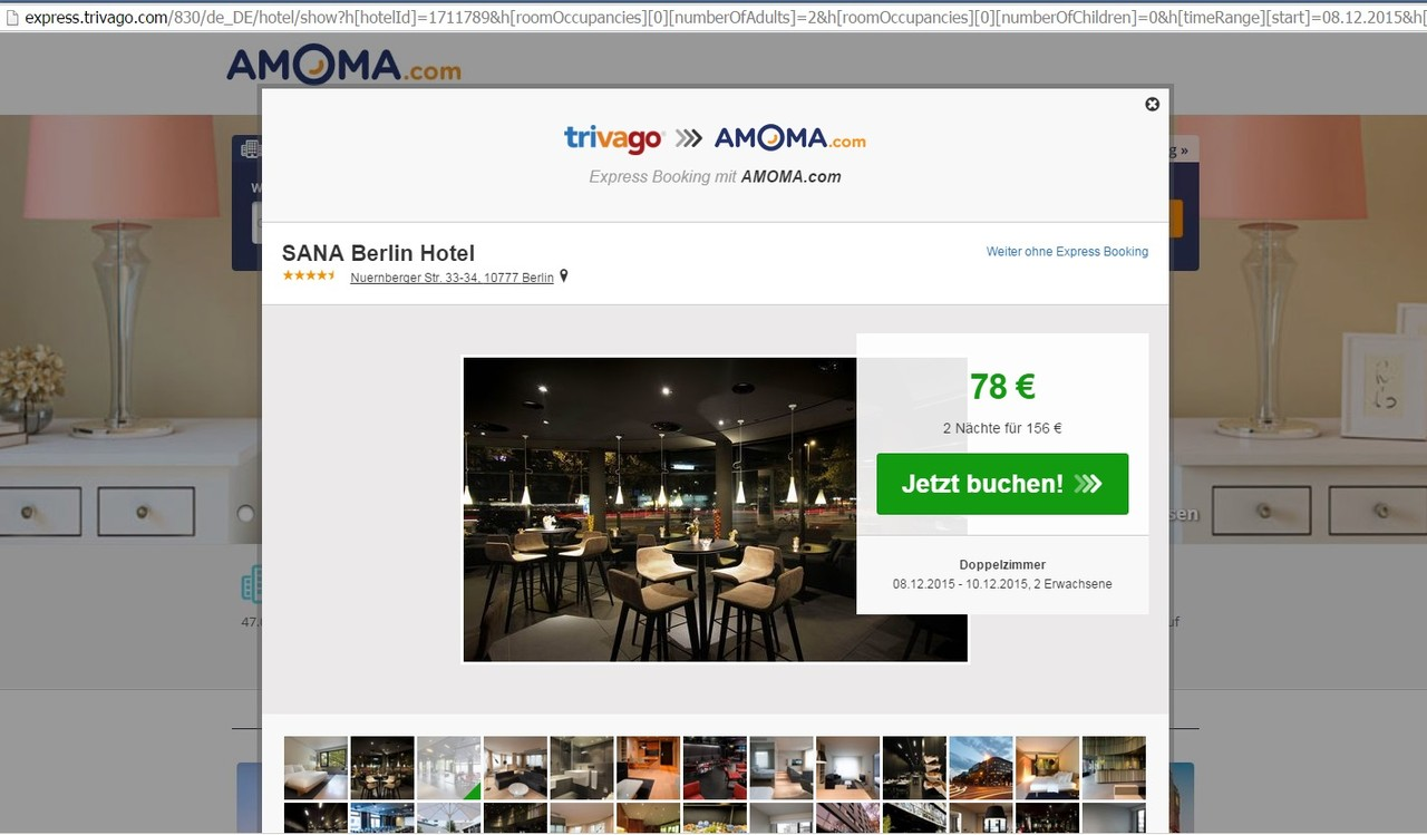 Trivago Express Booking Test in Germany