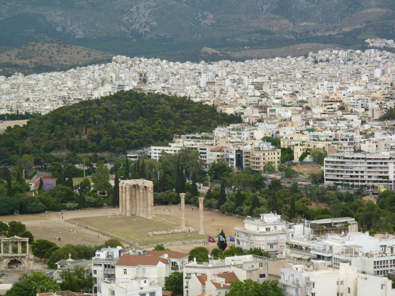 Atenas-vista a partir da Acrópole-Templo de Zeus