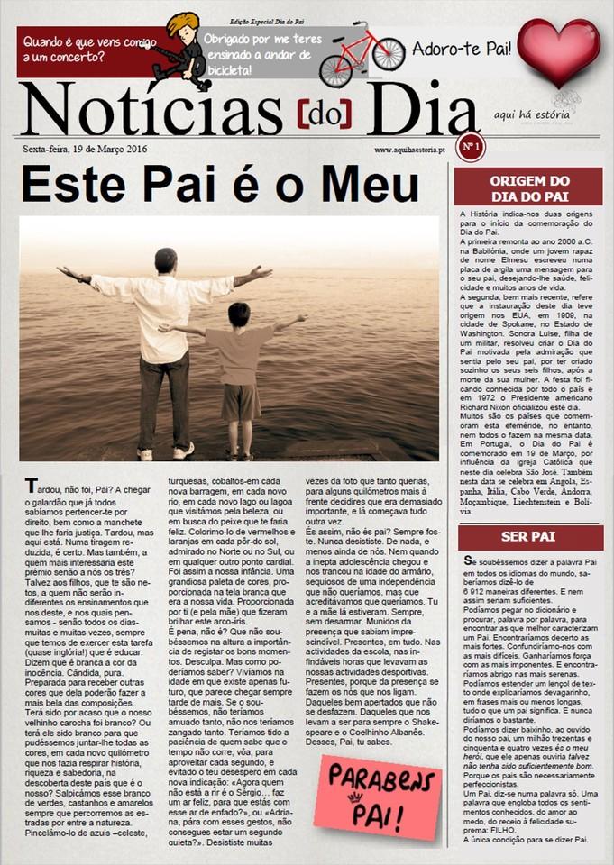 Imagem jornal dia do pai - Aqui há estória