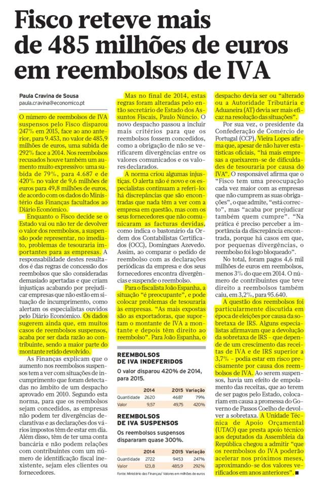 2015.01.06 Diário Económico - Fisco reteve mais