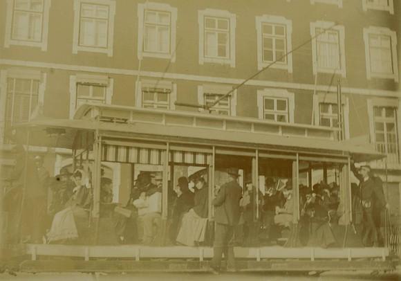Eléctrico no cais do Sodré, 1901, fotógrafo ni.