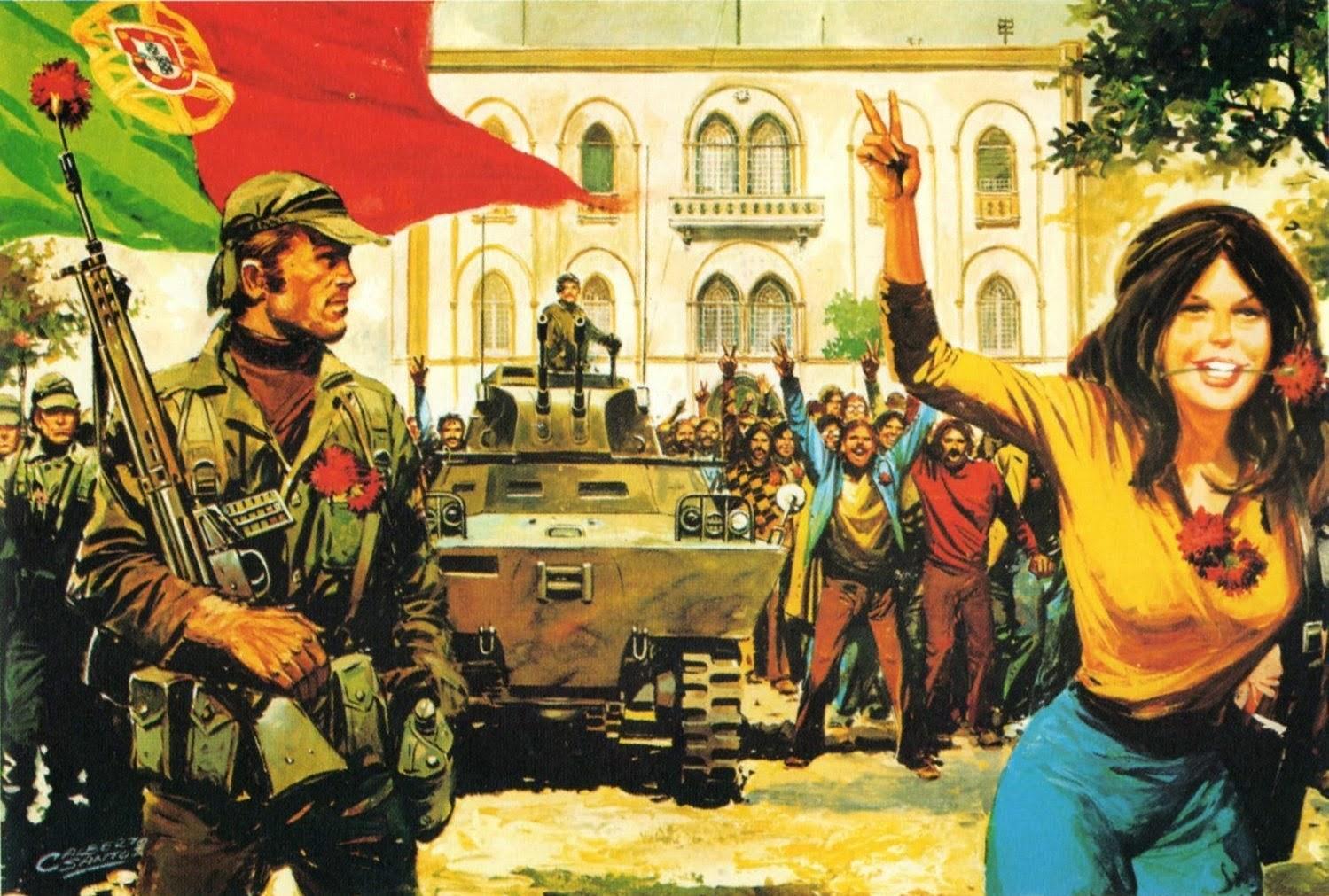 Ilustração alusiva ao dia 25 de Abril de 197